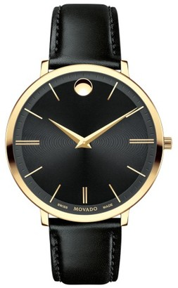 Women's Movado Ultra Slim Leather Strap Watch, 35Mm $695 thestylecure.com