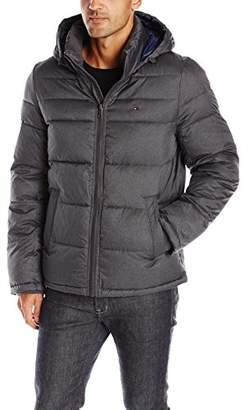Tommy Hilfiger Men's Midlength Puffer Jacket with Fixed Hood,S