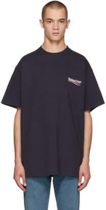 Balenciaga Navy Campaign Logo T-Shirt