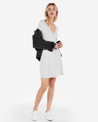 Express Cozy Ribbed Wrap Dress