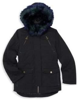 Tahari Little Girl's Faux Fur Trim Cargo Coat
