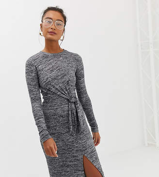 Miss Selfridge bodycon dress with knot tie in gray