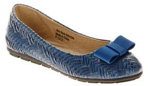 Victoria K. Victoria K Women's Weave Texture With Satin Bow Ballet Flats