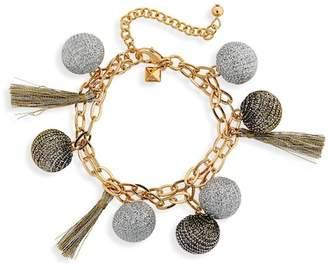 Rebecca Minkoff Double Strand Pompom Bracelet
