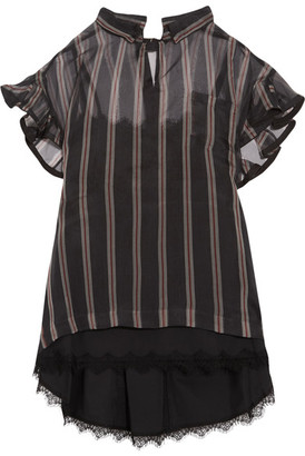 Sacai - Ruffled Striped Silk-organza Top - Black $870 thestylecure.com
