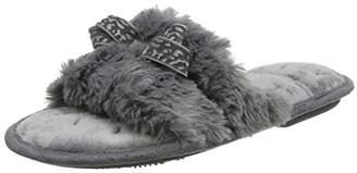 Isotoner Women's Fluffy Slider Slippers Open Back (Grey), 37 EU