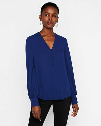 Express Button Front Blouson Sleeve Chelsea Popover