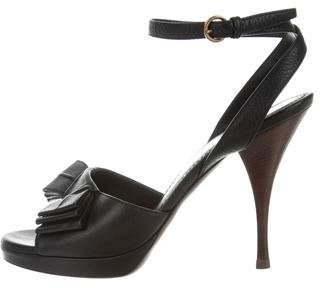 Saint Laurent Bow-Accented Ankle Strap Sandals