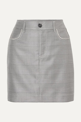 f614f2c71 Ganni Crystal-embellished Checked Silk And Wool-blend Mini Skirt - Light  gray