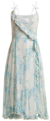 Athena Procopiou - Walking On A Dream Floral Print Silk Wrap Dress - Womens - Blue White