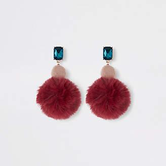 River Island Red tone velvet circle drop earrings