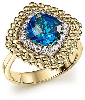 Bloomingdale's London Blue Topaz and Diamond Beaded Ring in 14K Yellow Gold - 100% Exclusive