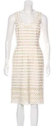 Oscar de la Renta Striped Midi Dress
