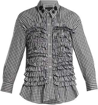 Simone Rocha Ruffled-panel gingham cotton shirt