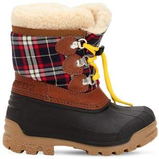 DSQUARED2 Plaid & Rubber Snow Boots
