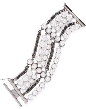 Lanvin Gunmetal-Tone Faux Pearl And Crystal Bracelet