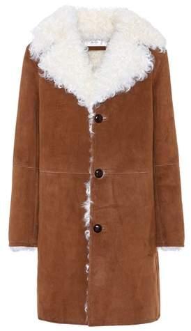 Mantel aus Veloursleder mit Fell