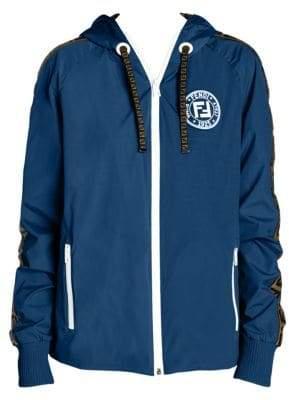 Fendi Logo Stripe Reversible Zip-Up Jacket