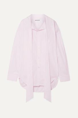 Balenciaga New Swing Oversized Striped Cotton-poplin Shirt - Baby pink