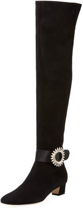 Manolo Blahnik Abau Over-The-Knee Boots w/Crystal Buckle