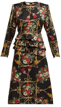 Gucci Intrigue Floral Print Silk Twill Midi Dress - Womens - Black Multi
