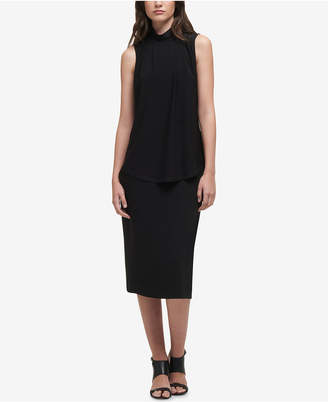 DKNY High-Neck Pleated Shell, Created for Macy's