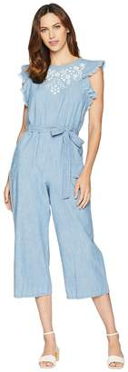 Vince Camuto Ruffle Sleeve Embroidered Tie Waist Jumpsuit Women's Jumpsuit & Rompers One Piece
