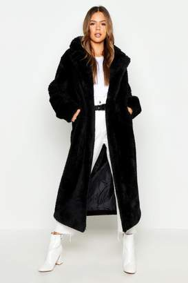 boohoo Longline Faux Fur Teddy Coat