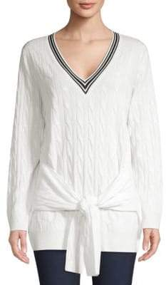 Sandro Emma Cable Knit Tie Waist Sweater