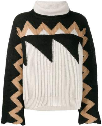 Nude roll neck patterned jumper