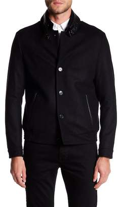 The Kooples Buckle Leather Trim Jacket