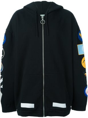 Off-White patch detail hoodie $541.33 thestylecure.com