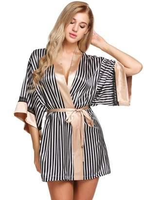 Seafolly Ekouaer Women's Lace Trim Short Kimono Robe Stripe Printed Sleepwear Nightgown