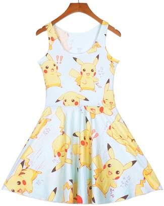 Lady Queen Women's Pikachu Printed Scoop Reversible Pleated Skater Dress M