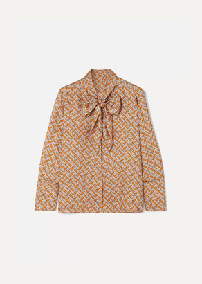 Burberry Pussy-bow Printed Mulberry Silk-twill Blouse - Orange