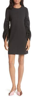 Tibi Long Sleeve Crepe Shift Dress