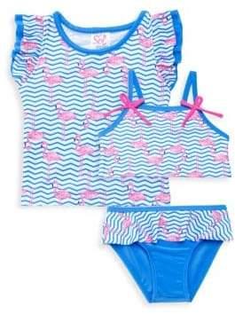 Baby Girl's Three-Piece Zig Zag Flamingo Top, Swim Top & Swim Bottom Set