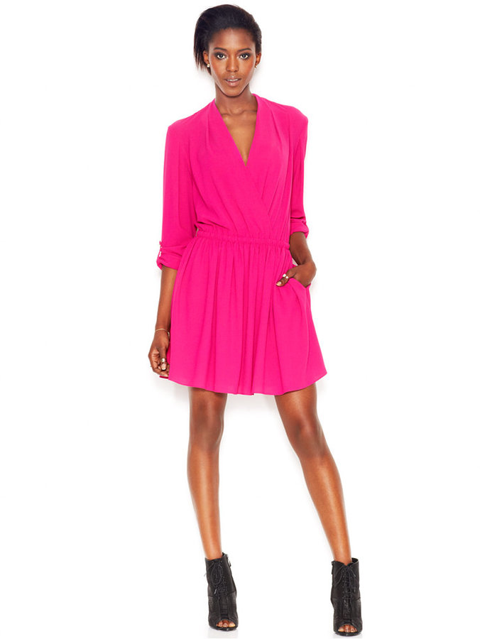 RACHEL Rachel Roy Long-Sleeve Faux-Wrap Flared Dress
