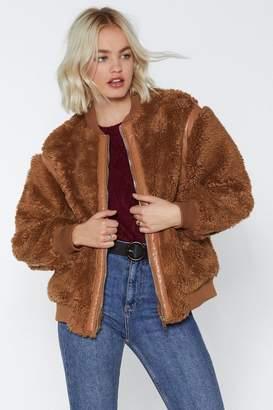 Nasty Gal Bear Hugs Only Faux Fur Bomber Jacket