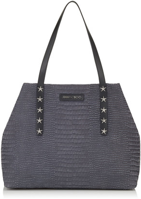 Jimmy Choo PIMLICO/S Slate Crocodile Printed Nubuck Leather Small Tote Bag with Star Trim