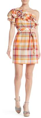 Trina Turk Reyes One Shoulder Plaid Print Waist Tie Dress