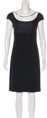 Prada Silk-Paneled Knee-Length Dress
