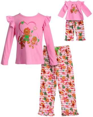 Dollie & Me Girls 4-14 Gingerbread Cookie Ruffled Top & Bottoms Pajama Set