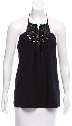 Philosophy di Alberta Ferretti Sequin-Embellished Halter Top w/ Tags