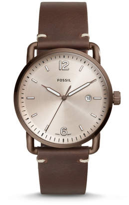 Fossil The Commuter Three-Hand Date Brown Leather Watch