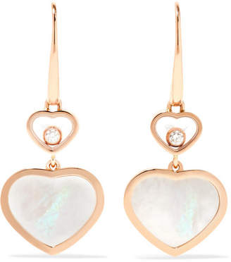 Chopard Happy Hearts 18-karat Rose Gold, Diamond And Mother-of-pearl Earrings - one size