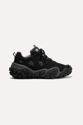 Acne Studios Bolzter Suede And Mesh Sneakers - Black