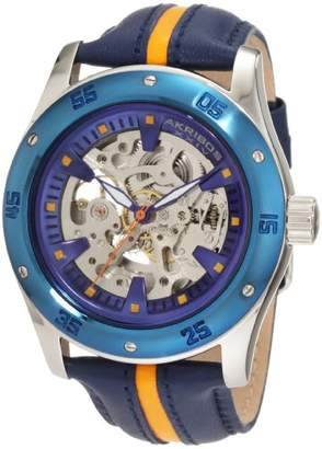 Akribos XXIV Men's AKR476BU Round Retro Skeleton Automatic Strap Watch