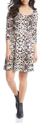 Karen Kane Abstract Animal-Print Shift Dress