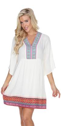 Women's White Mark Gabrielle Embroidered Gauze Dress